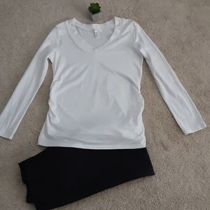 NWOT Ambiance Maternity White T-Top SZ XL